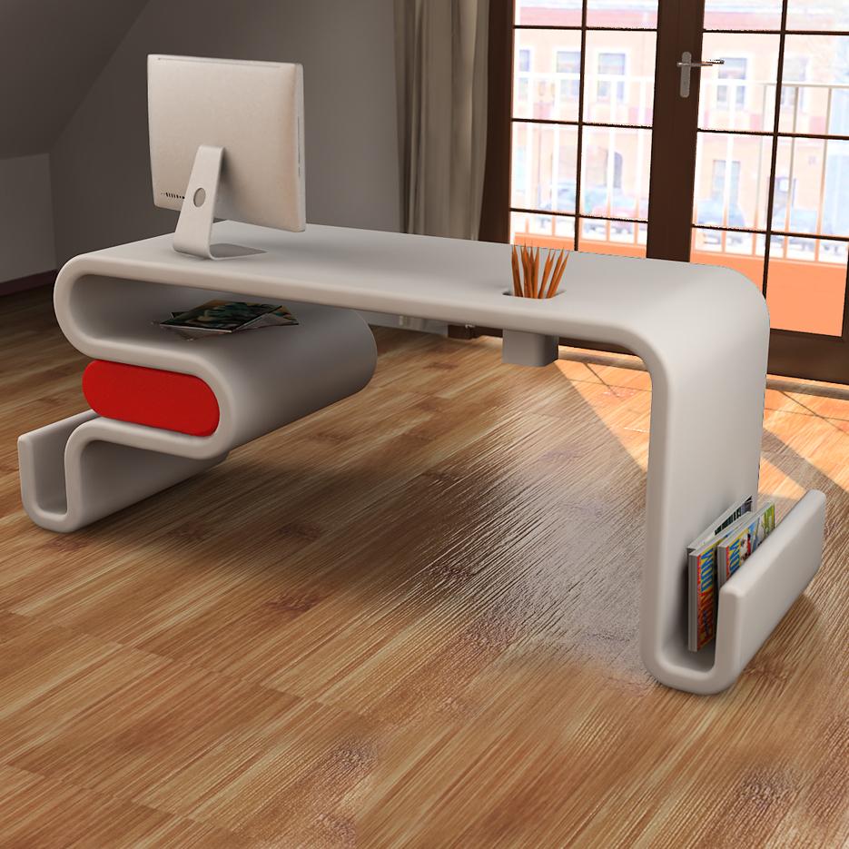 Scrivania design flex forma ondulata con cassetto laterale for Prodotti design