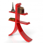 Libreria design rossa fuoco | vista laterale