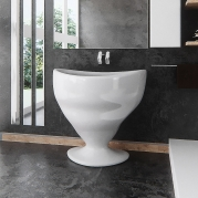 Lavabo Design Calice Bianco Lucido Vista Frontale