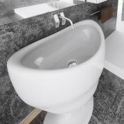 Lavabo Design Calice Bianco Lucido Vista Dettaglio