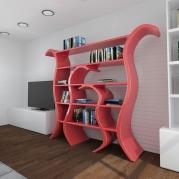 Libreria design Tulip vista destra ambientata