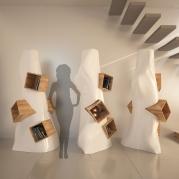 Libreria design made in italy modello K2 | vista frontale con sagoma