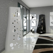 libreria design Dots vista bianca e nera ambiente