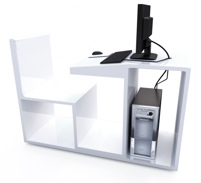 Workstation per computer in Adamantx®. Design compatto. By Salvatore Privitera.