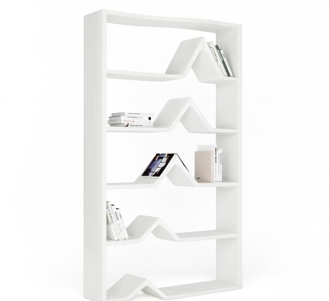 Libreria Design Darwin in Adamantx®, vista laterale | Laccata lucida Bianca