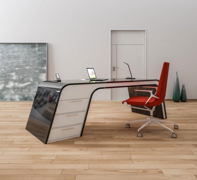 scrivania design Milano white black. in Adamantx®