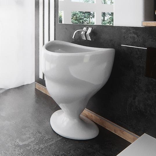 Lavabo Design Calice Bianco Lucido Vista Laterale