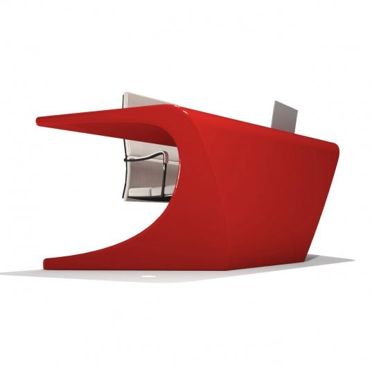 scrivania moderna Space colore rosso